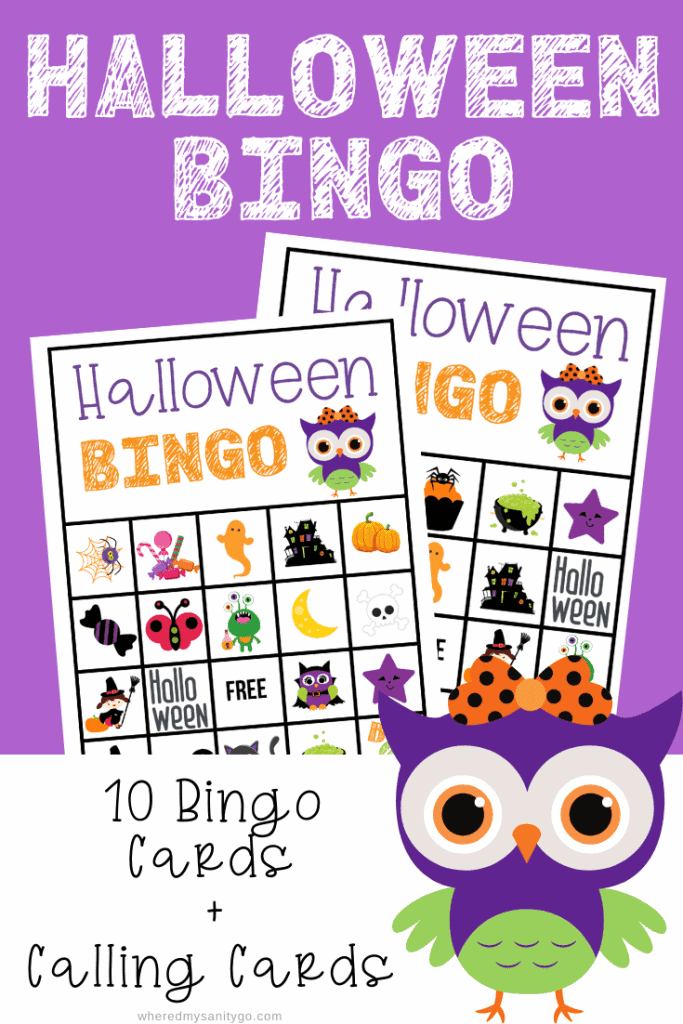 halloween bingo cards on a purple background with owl