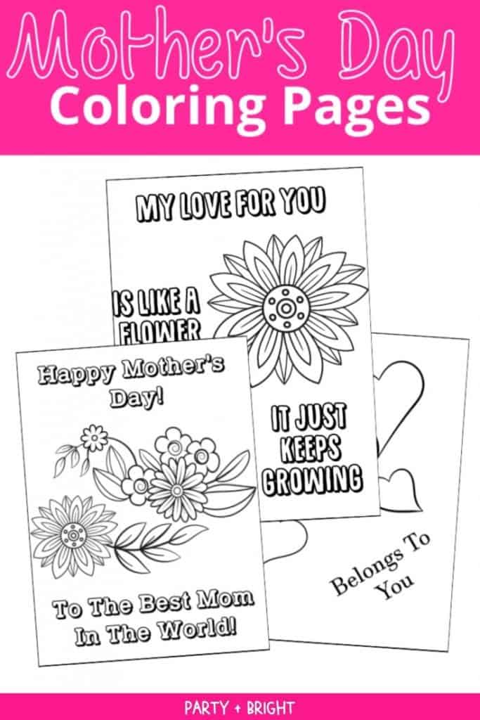cute coloring pages for mothers day in collage