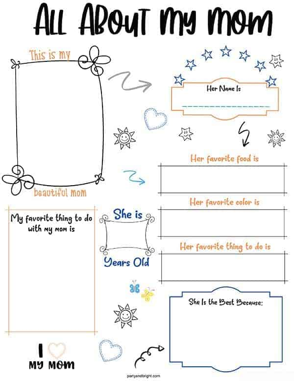 All About My Mom Printable with questions for kids to answer about mom for Mother's Day