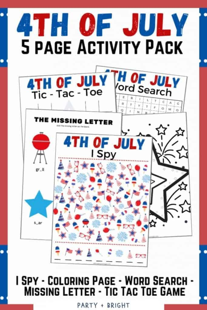 4th of July printable activities for kids