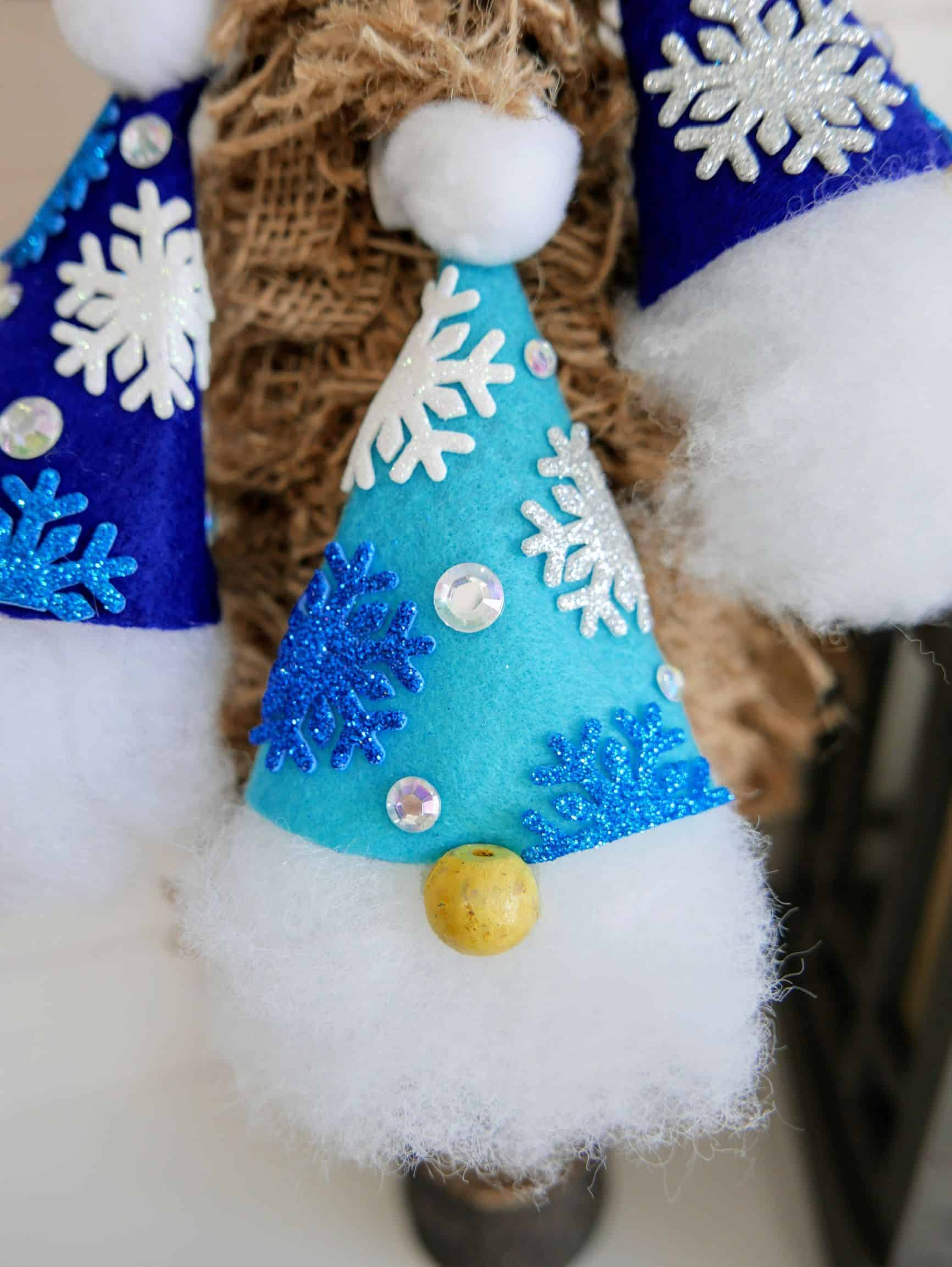 finished gnome ornament with blue hat