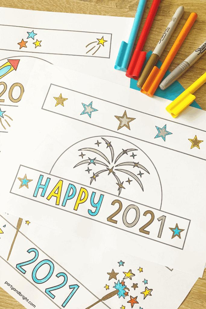 4 printable diy new years hats 2021