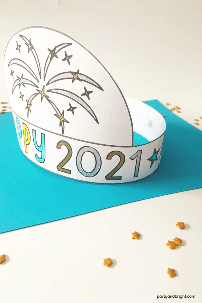 diy new years hat for 2021 with confetti