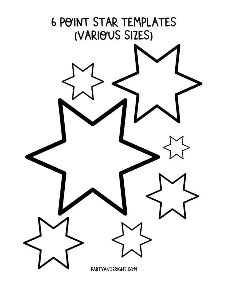 6 point star templates various sizes printable