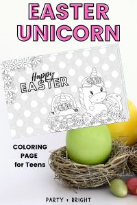 Easter Unicorn Coloring Page for Kids & Teens