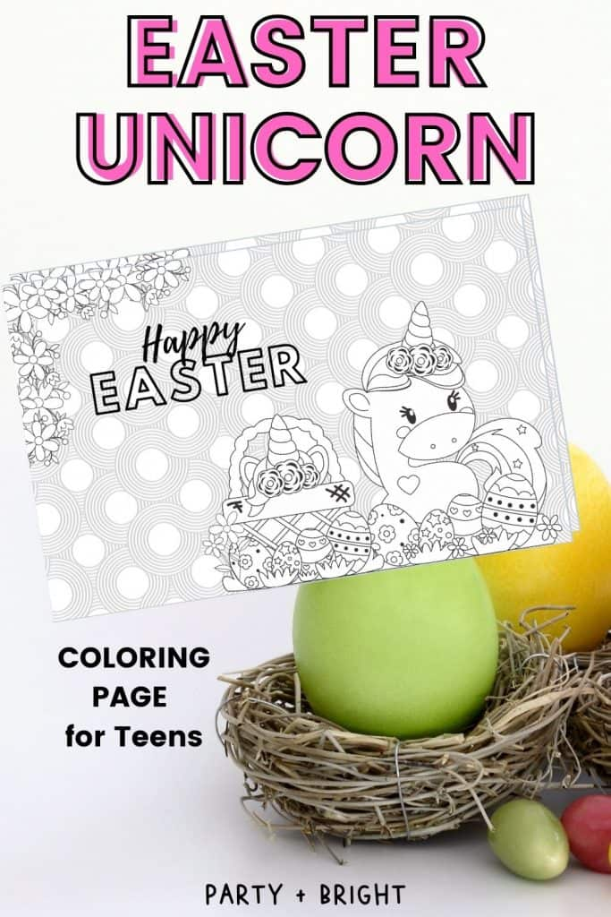easter unicorn adult coloring page