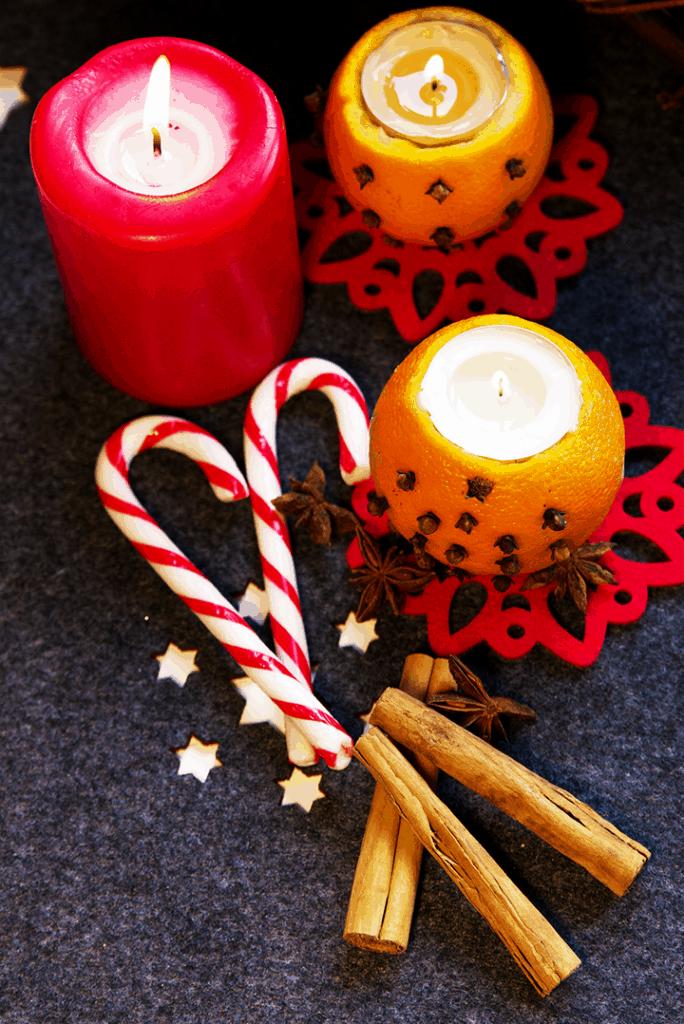oorange and clove pomander candle holder