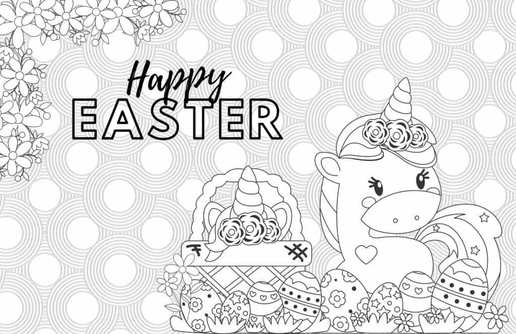 Easter Unicorn Coloring Page For Kids & Teens – Party + Bright