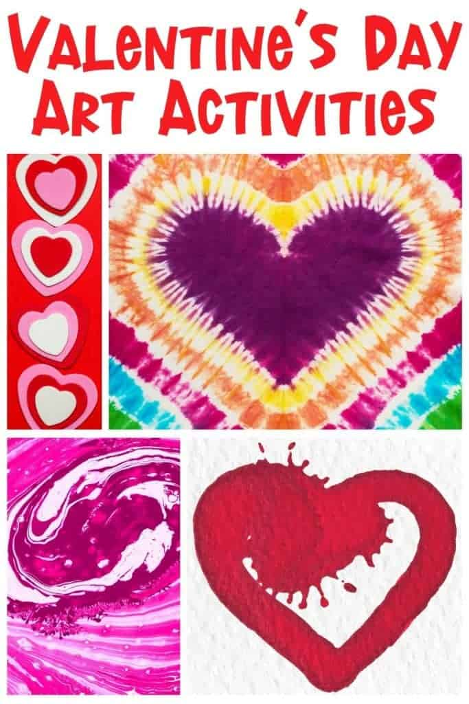 educational valentine's day art activities collage with text
