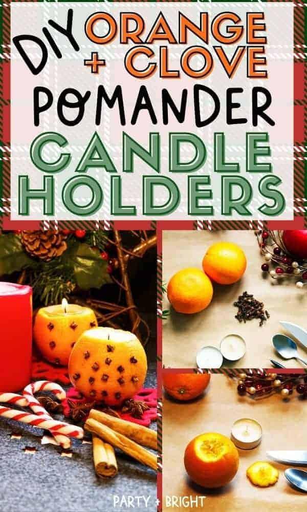 orange and clove pomander candle holder pin image
