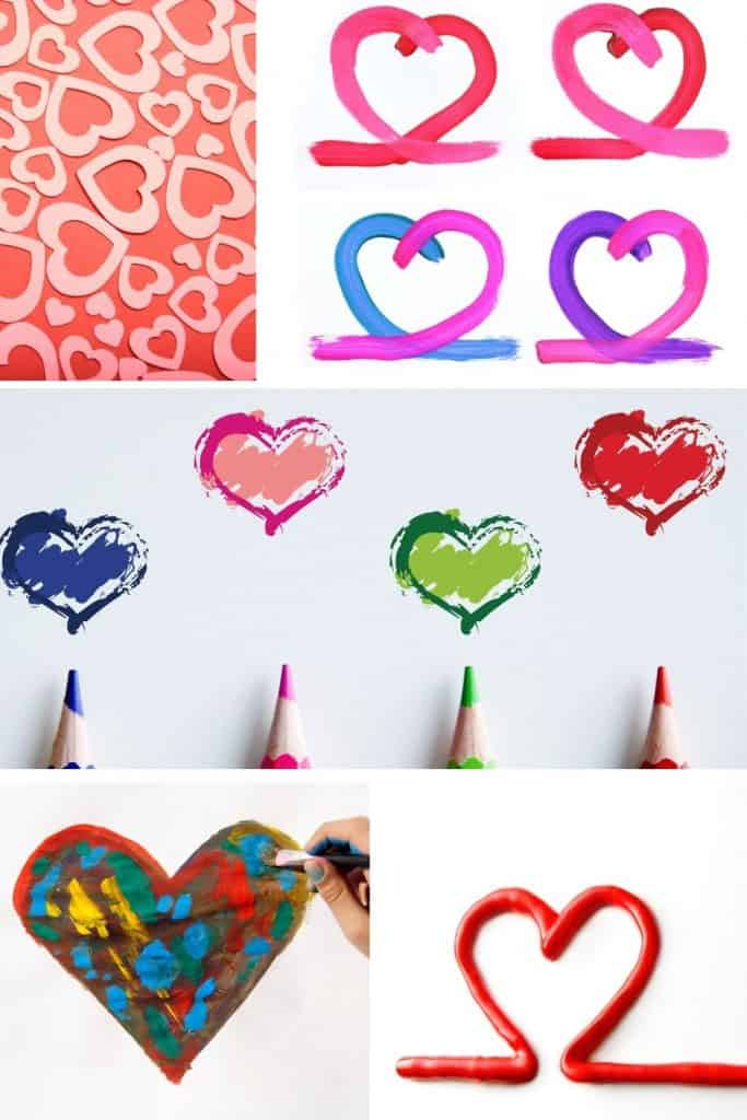 various easy valentine's day art activities in a collage