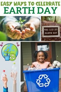 earth day activities collage with text easy ways to celebrate earth day at work