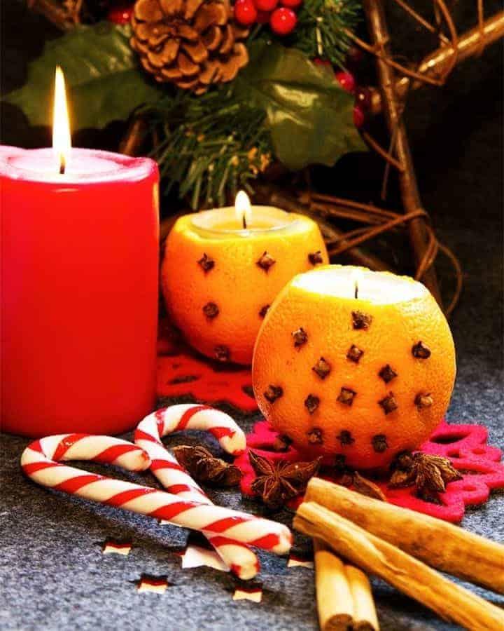 Easy Orange + Clove Pomander Candle Holders