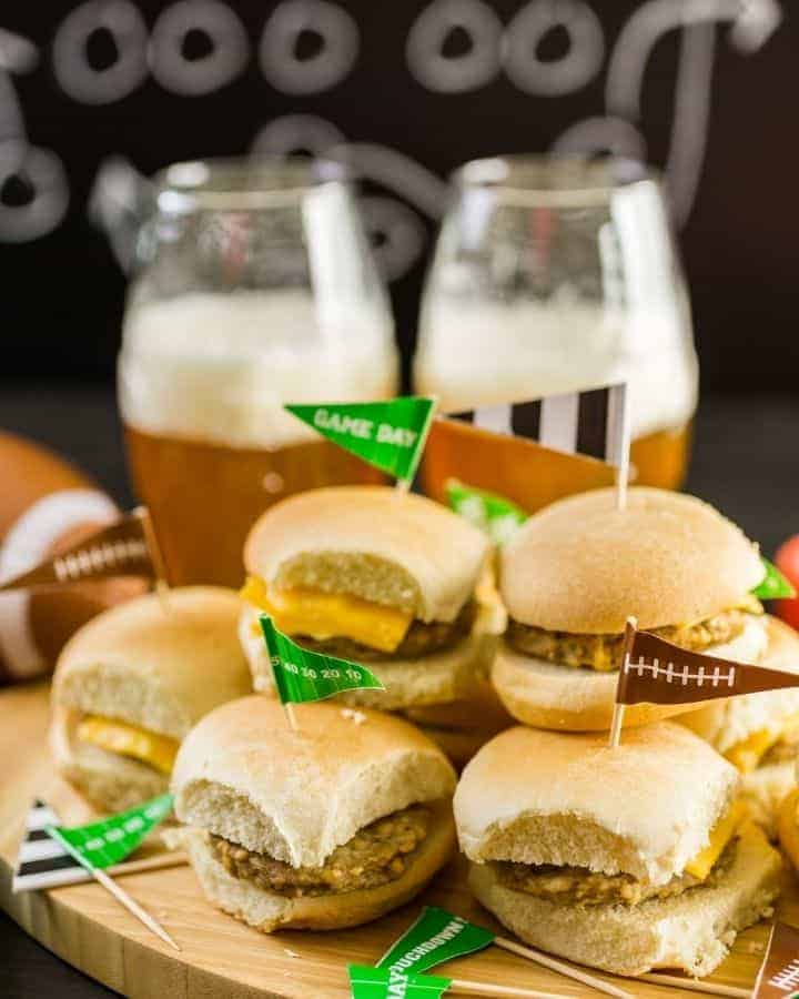 mini sliders with beer at tailgate party