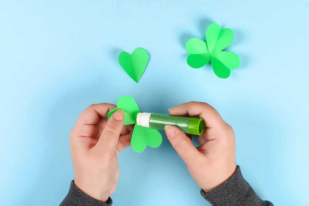 diy clover and gluesticks for easy st patricks day crafts for kids