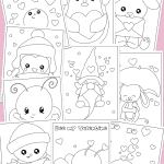 collage of valentine's day printable coloring pages
