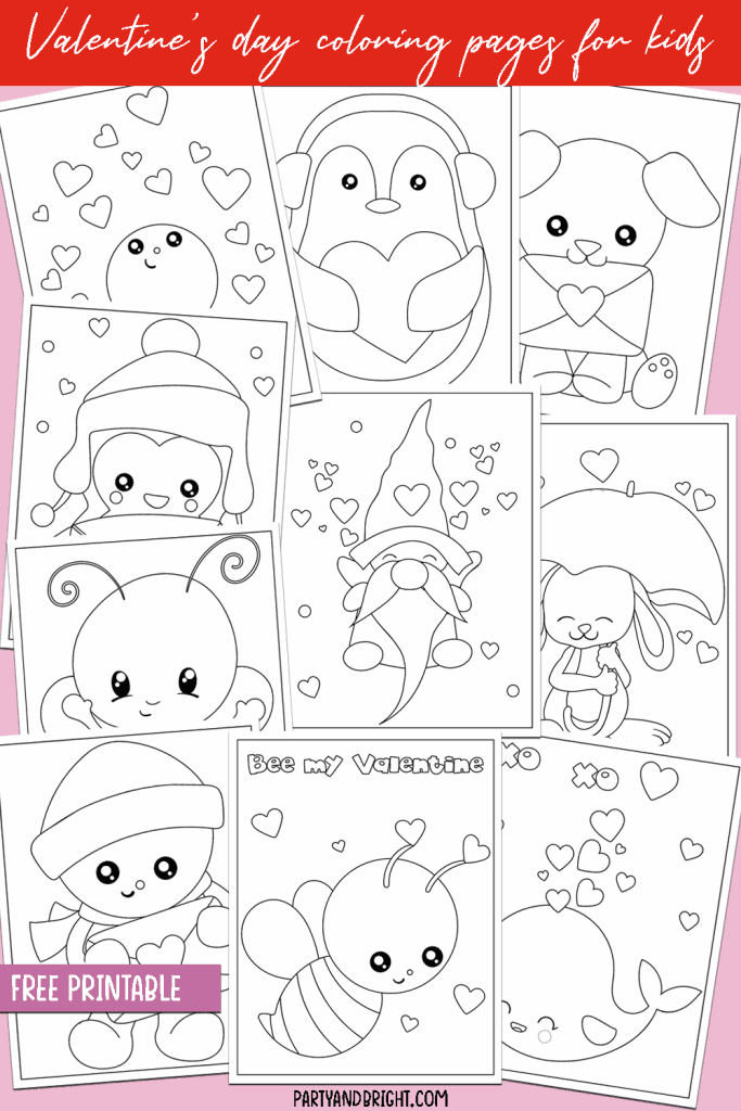 selection of cute animal coloring pages for valentine's day