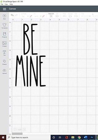 be min in rae dunn font in cricut design space