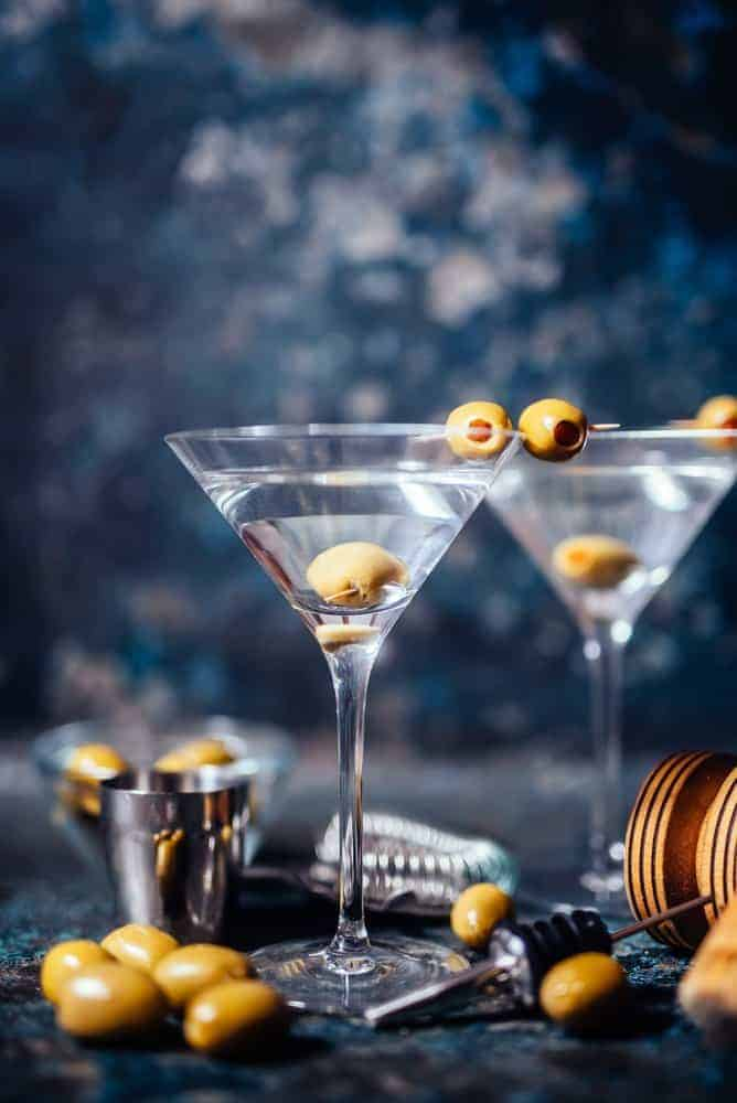 dry martini with home martini bar supplies