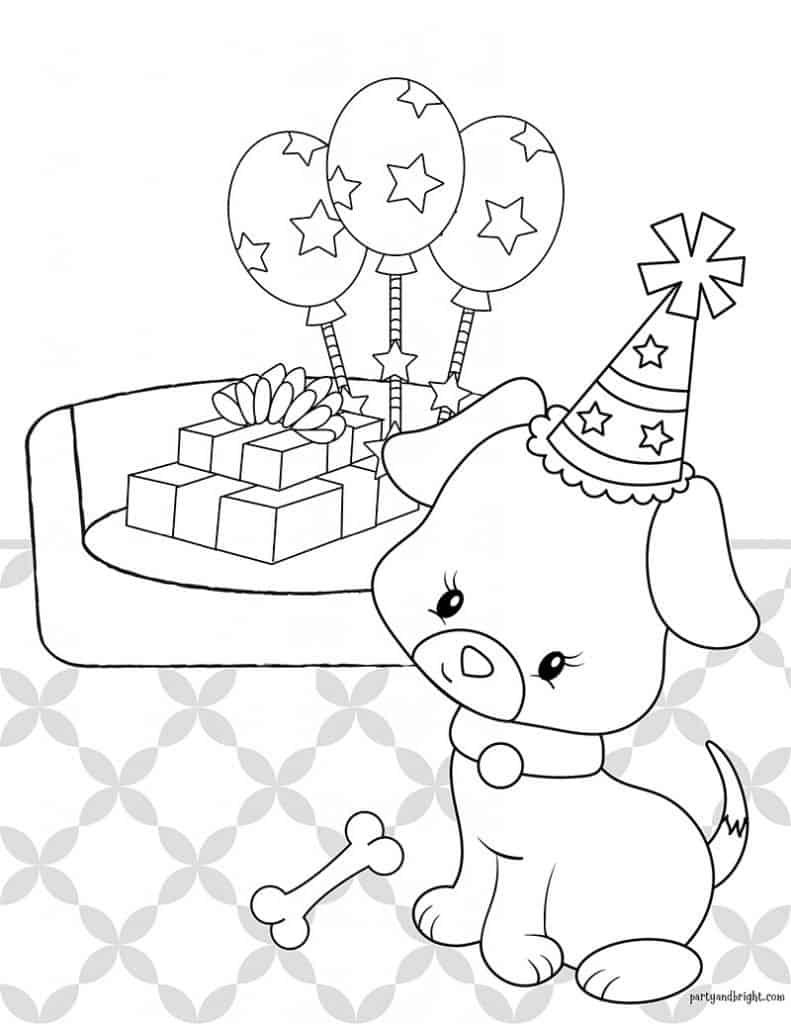 puppy coloring page of puppy wearing a party hate with presents and balloons