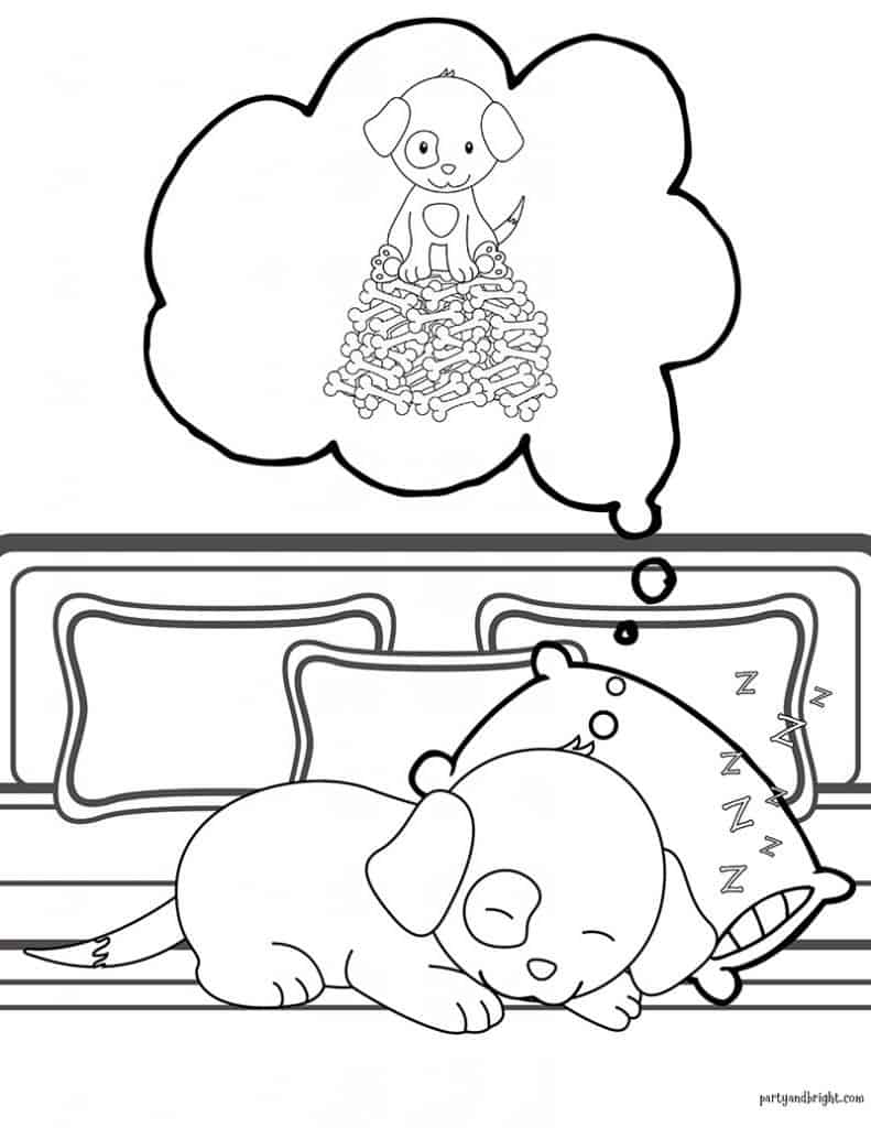 coloring page of puppy sleeping and dreaming of lots of dog bones