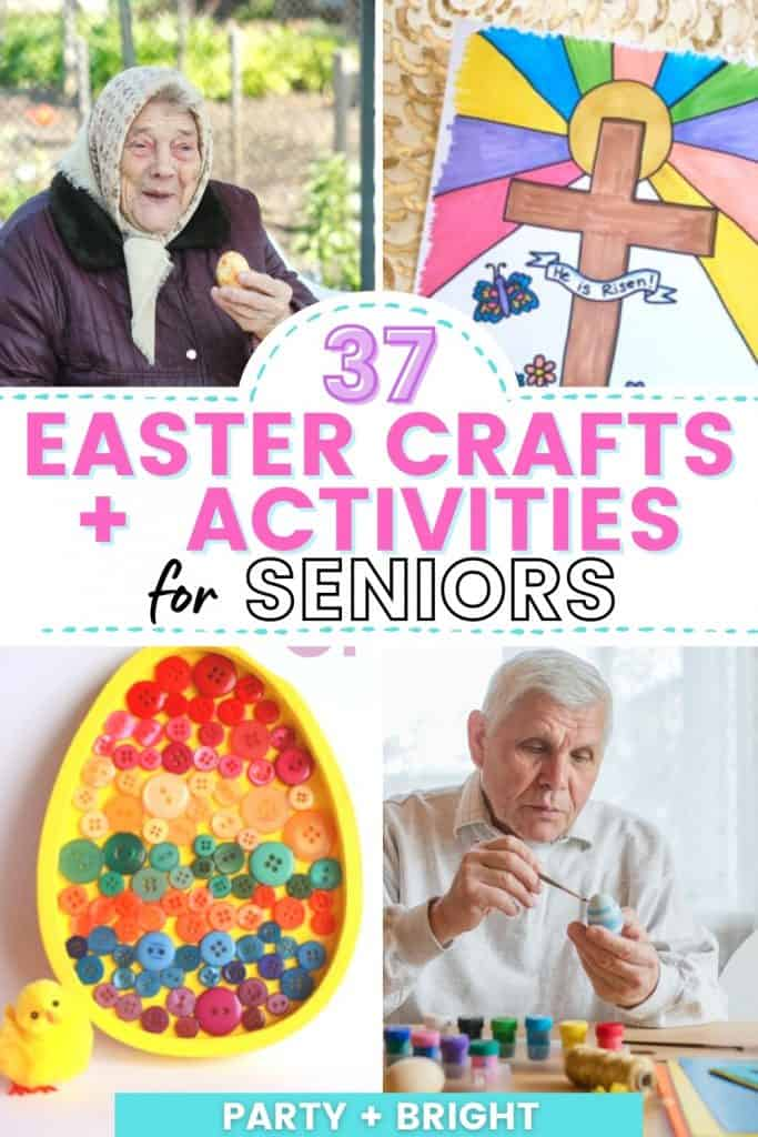 collage of easter crafts for seniors and senior doing activities