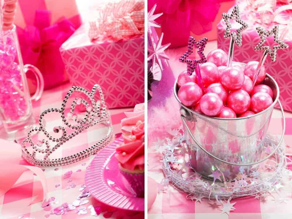 princess party decorations on a pink decorated table