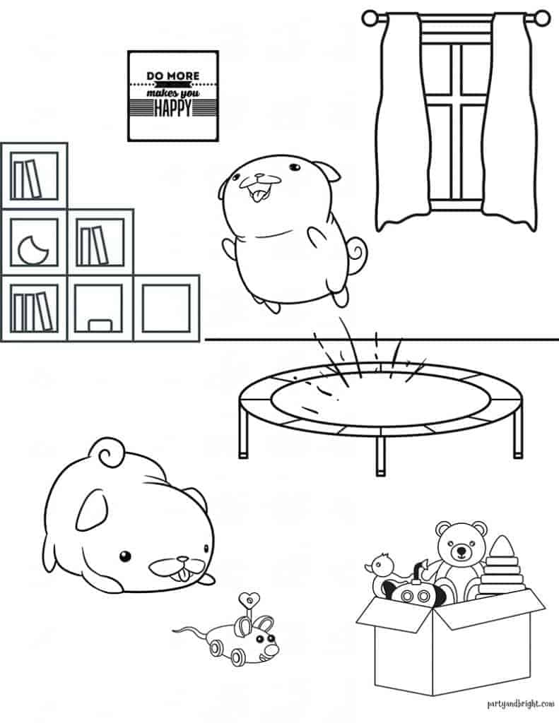 coloring sheet of two puppies playing in a playroom with one on a trampoline