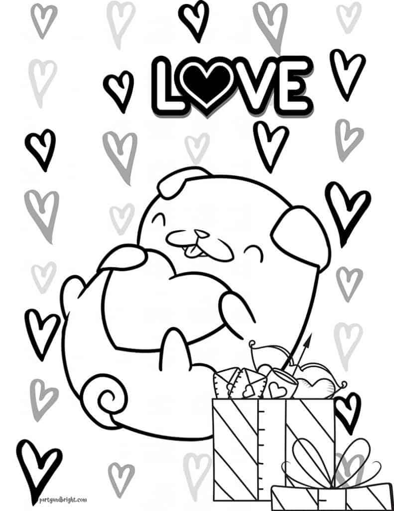 coloring page to print of pug puppy holding a heart with the word love, hearts and presents in the background