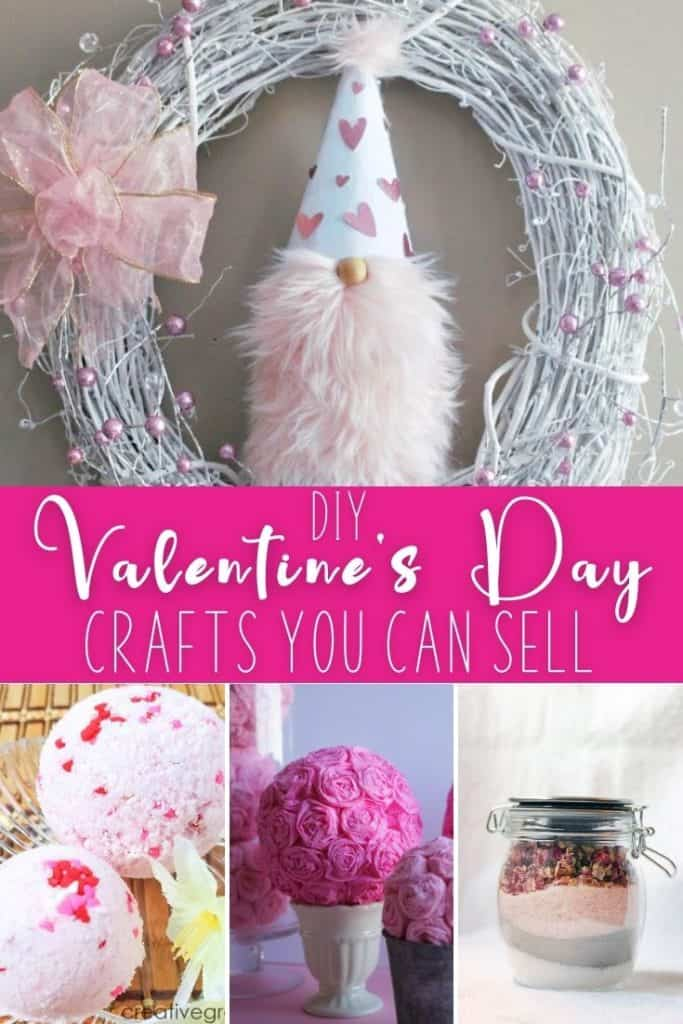 collage of various valentines day crafts to make and sell