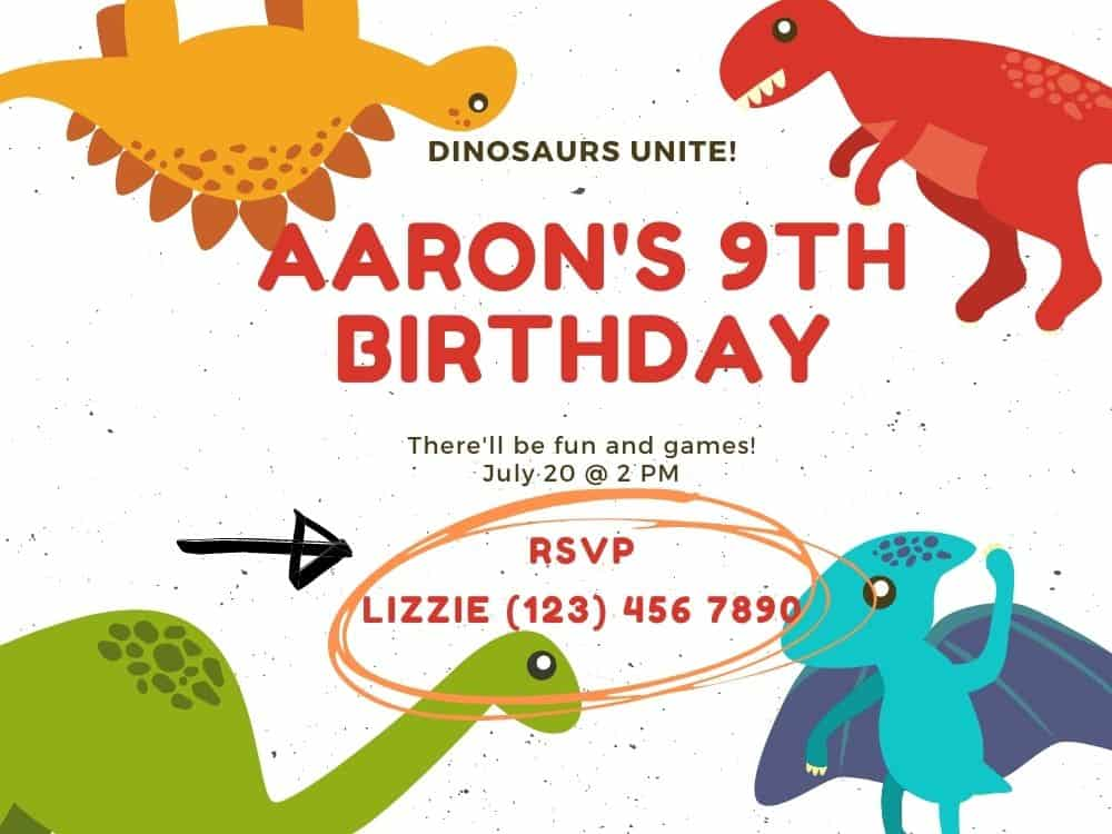 birthday party invitation with the RSVP information circled with arrow pointing to it