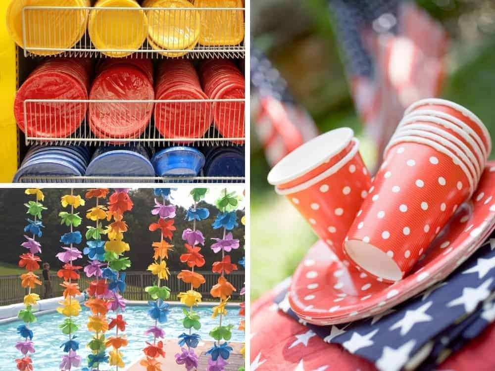 collage of colorful dollar store paper plates, patriotic tableware and luau leis