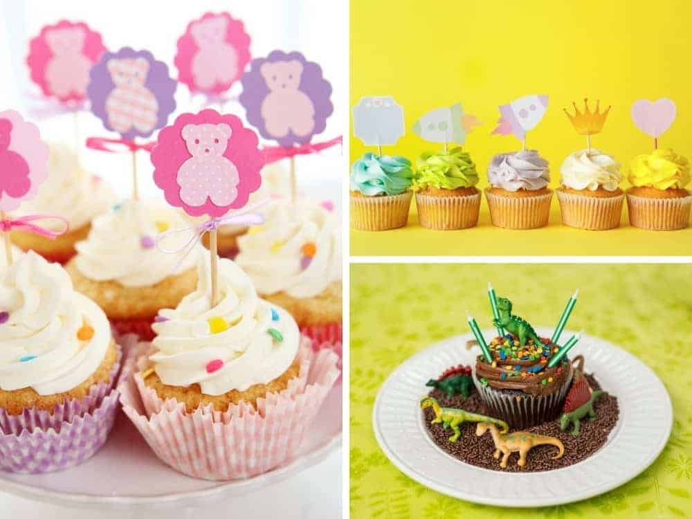simple cupcake toppers made out of paper and dinosaur toys (3 images)