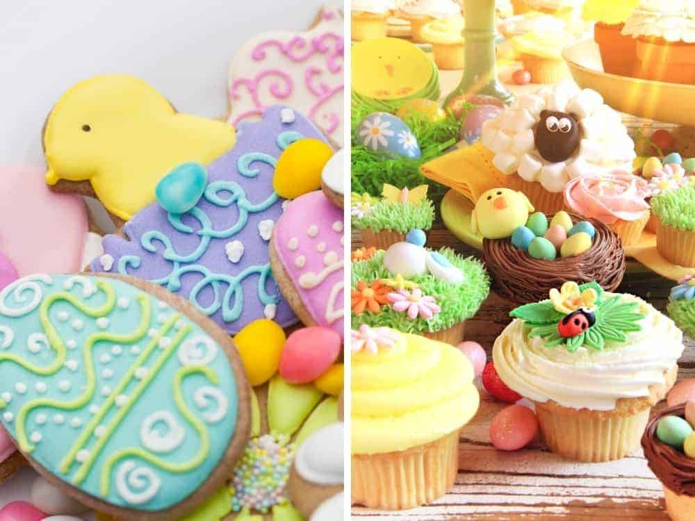 decorated easter cookies and easter cupcakes