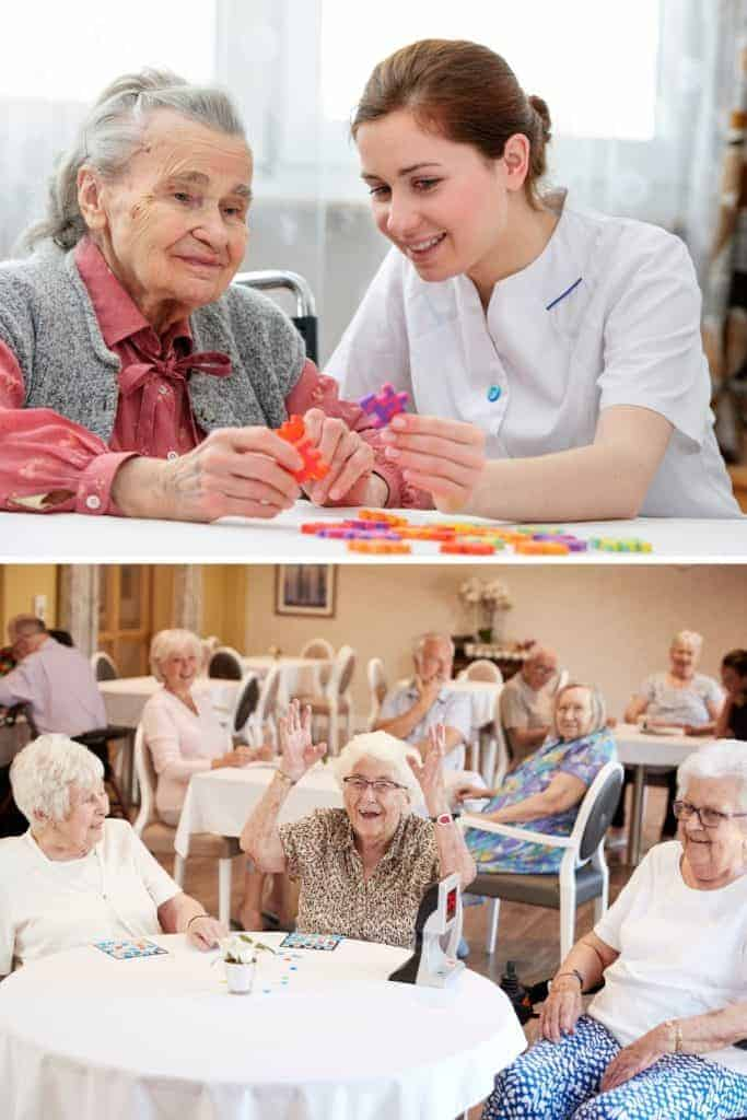 seniors playing bingo and caregiver helping senior with craft