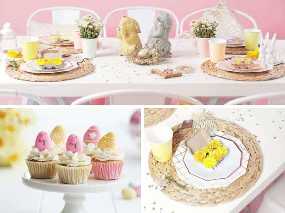 springtime easter tea party table decor collage