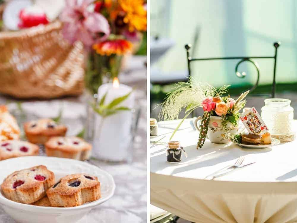casual table decor and food for tea garden party