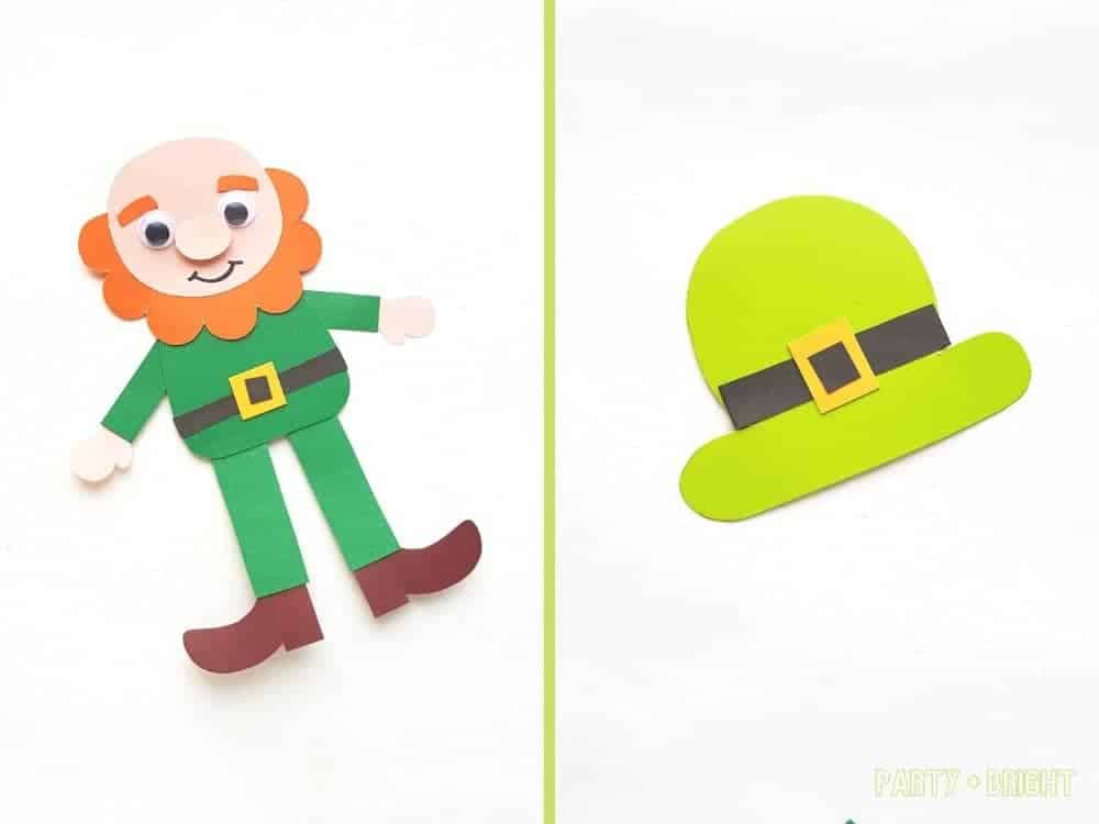 Leprechaun paper puppet with second photo of leprechaun hat out of paper