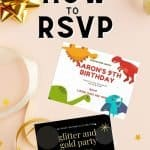 two birthday party invitations on table with text how to rsvp