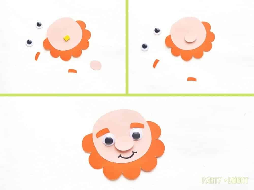 steps showing how to put facial features on leprechaun puppet