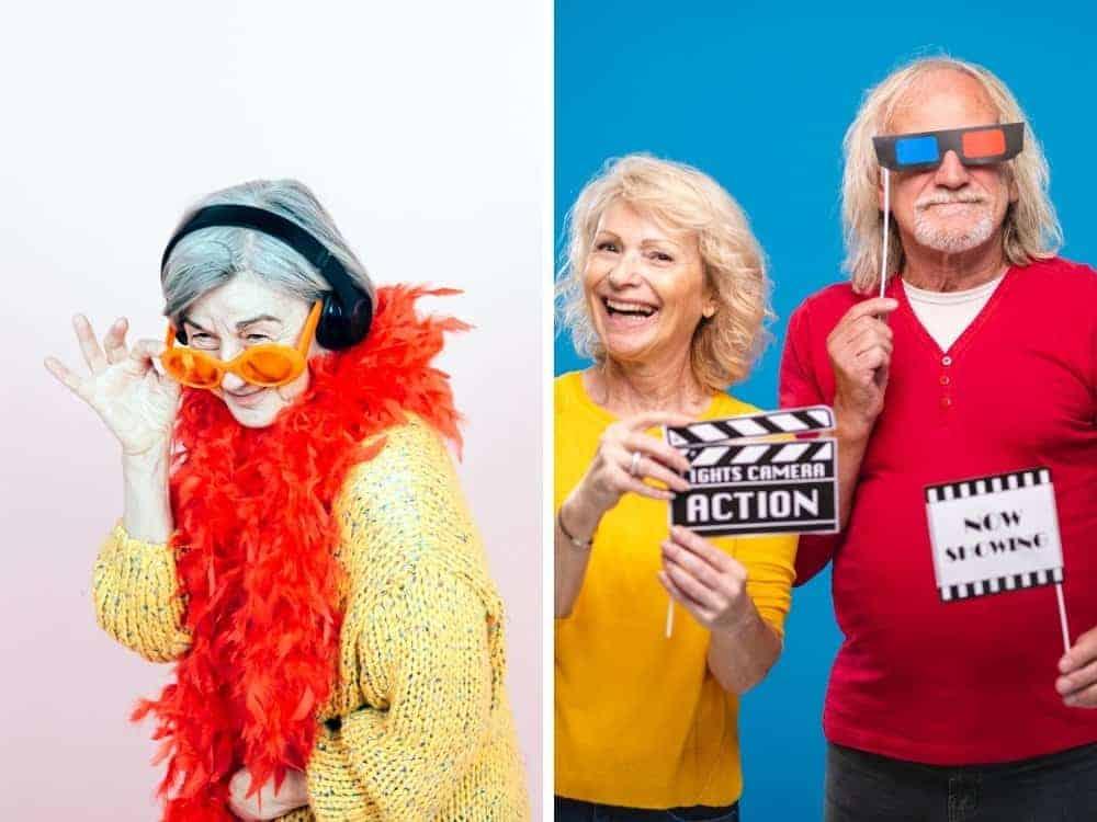 grandma wearing boa and headphones and senior couple holding movie props