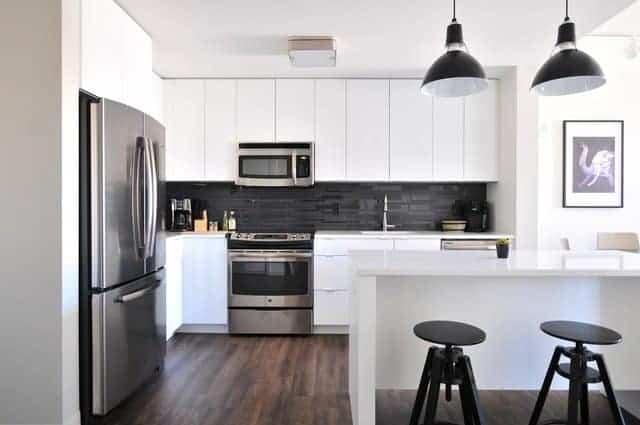 clean white kitchen with island