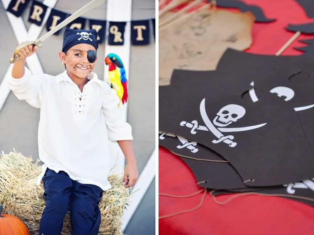 boy with pirate sword and eyepatch and a diy pirate paper hat