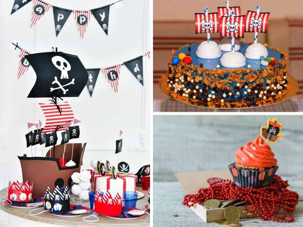 creative pirate party decor collage for an easy pirate party, including paper pirate ship and cupcakes