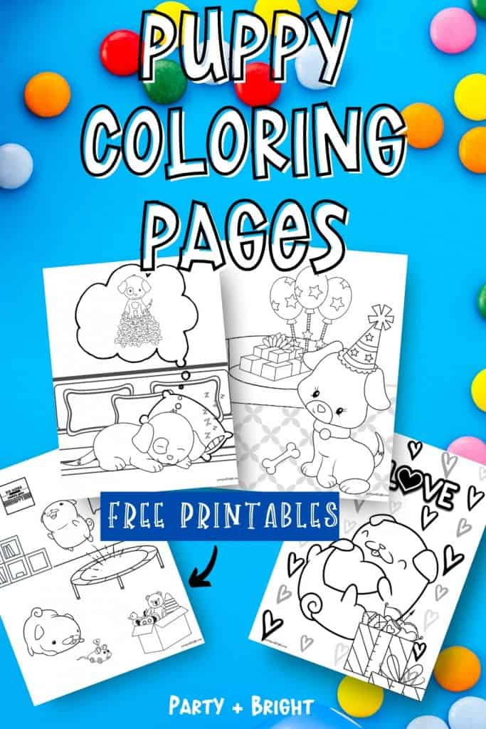 collage of 4 dog coloring pages with text that reads puppy coloring pages free printables