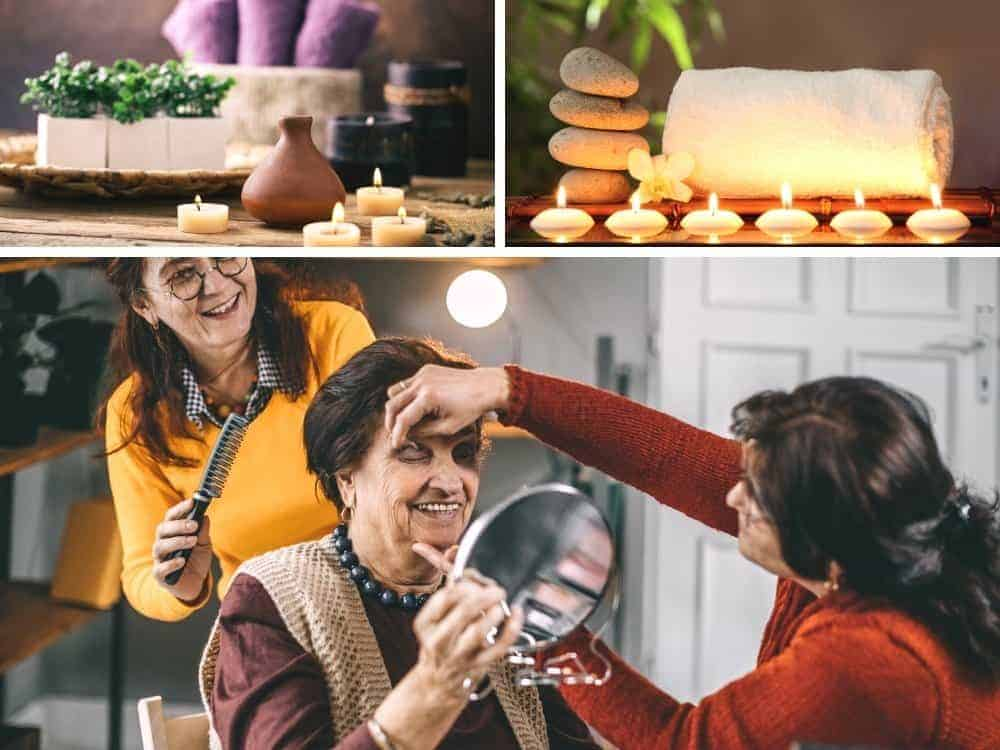 two women do a senior womans makeup at a home spa day. Spa images at top as ideas for spa birthday at home.
