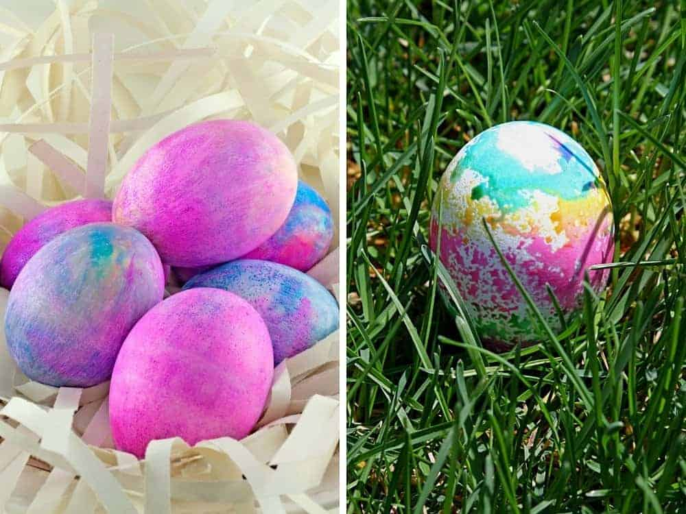 Watercolor easter eggs after having been dyed