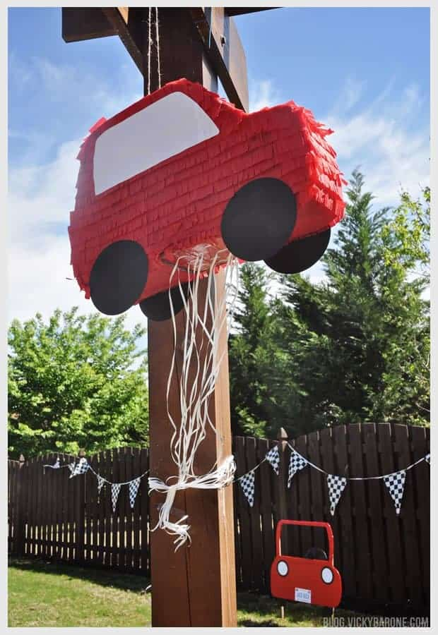 red car diy pull string pinata with streamers