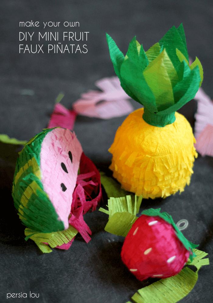 DIY Mini Fruit Faux Pinatas