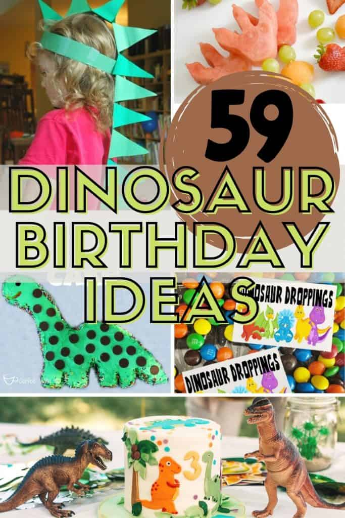 collage of dinosaur birthday party ideas including party hat, cake, party bag, decorations